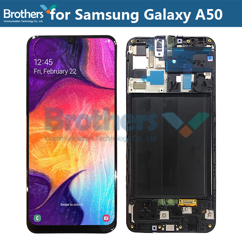 For Samsung Galaxy A50 A505F/D A505A LCD Screen LCD Display with Frame for Samusng A50 Touch Digitizer LCD Assembly Original Top image