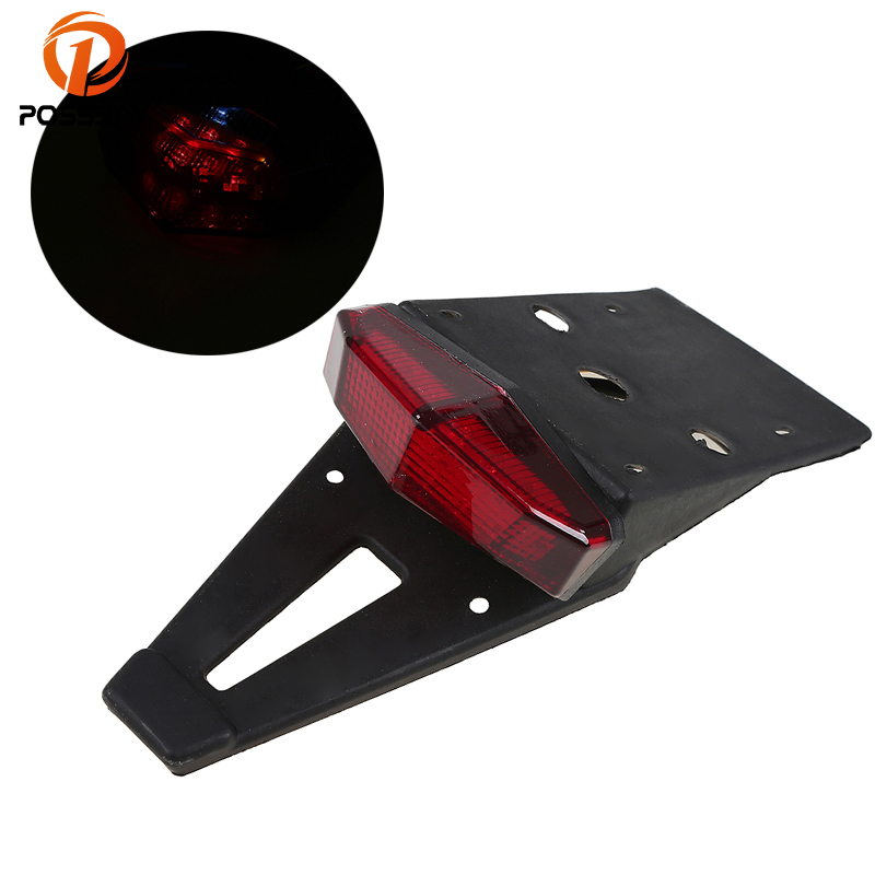 POSSBAY Motorcycle Tail Light LED Bike Rear Fender Taillight Stop Lights Red For Honda Suzuki Yamaha Cafe Racer Brake Lamp Bulb