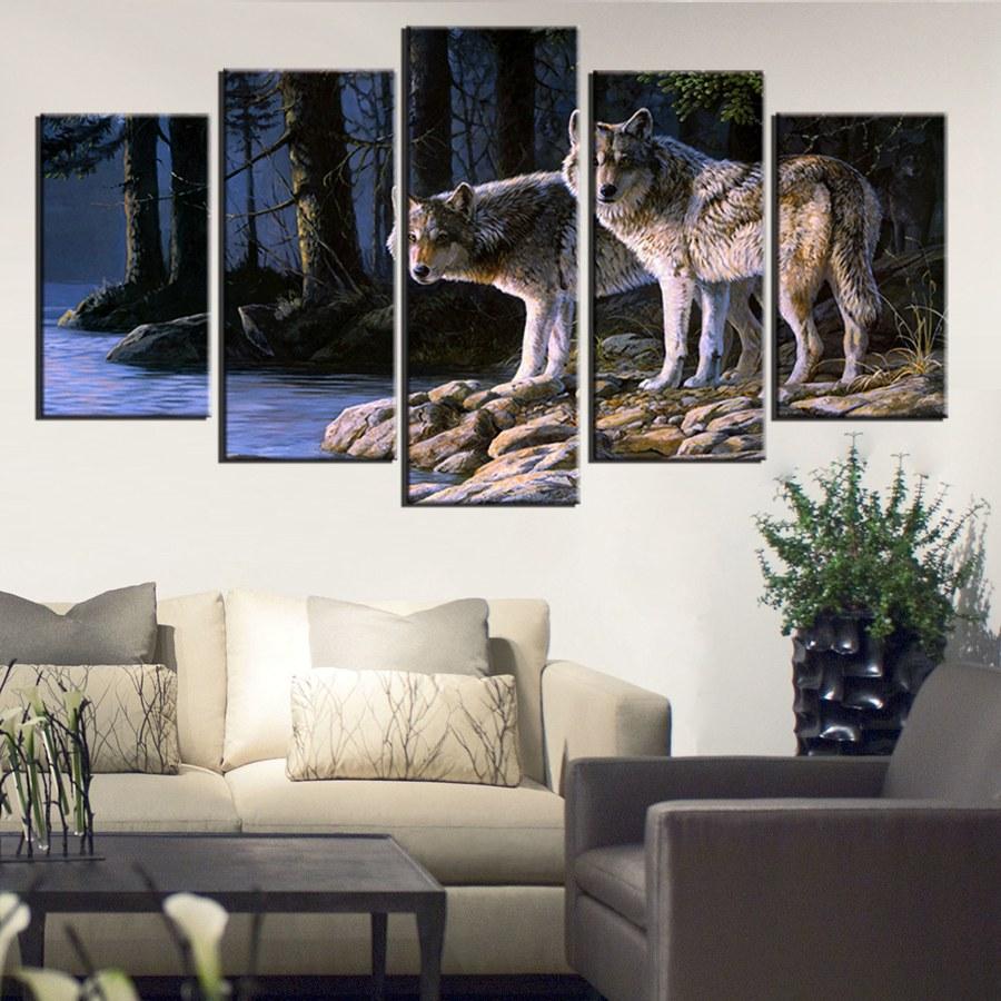 Два волка стоять на берегу реки лес стены Книги по искусству живопись волки фотографии печать на холсте животного изображение для дома совр... ...