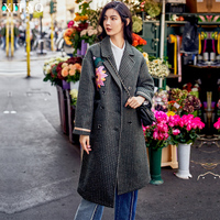 XITAO 2017 Korea Vintage New Winter Women Floral Pattern Double Breasted Long Coats Female Full