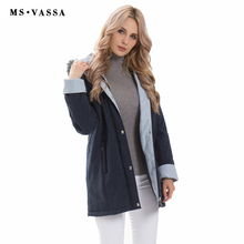 MS VASSA Women Parkas 2017 New Winter thick Jackets hood with fake fur classic contrast moss