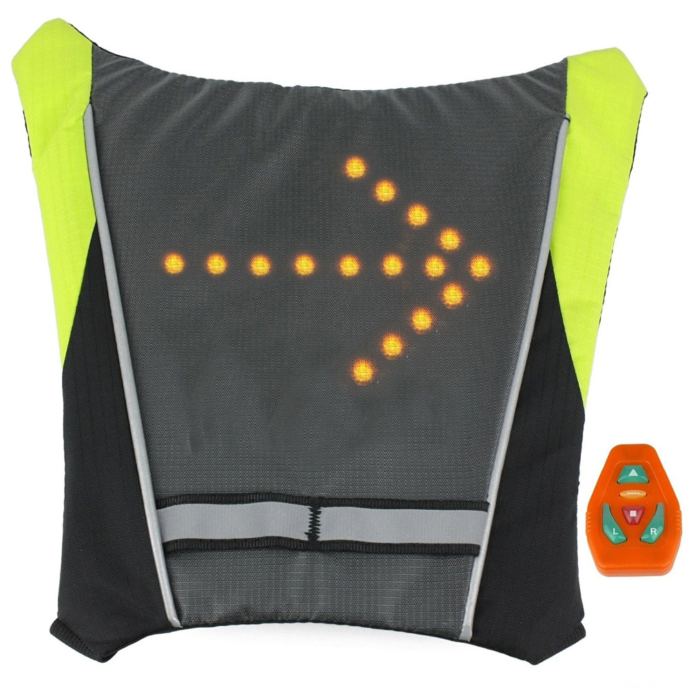 LED Turn Signal Light Reflective Vest Backpack Sport Outdoor Waterproof for Safety Night <font><b>Cycling</b></font> / Running / Walking