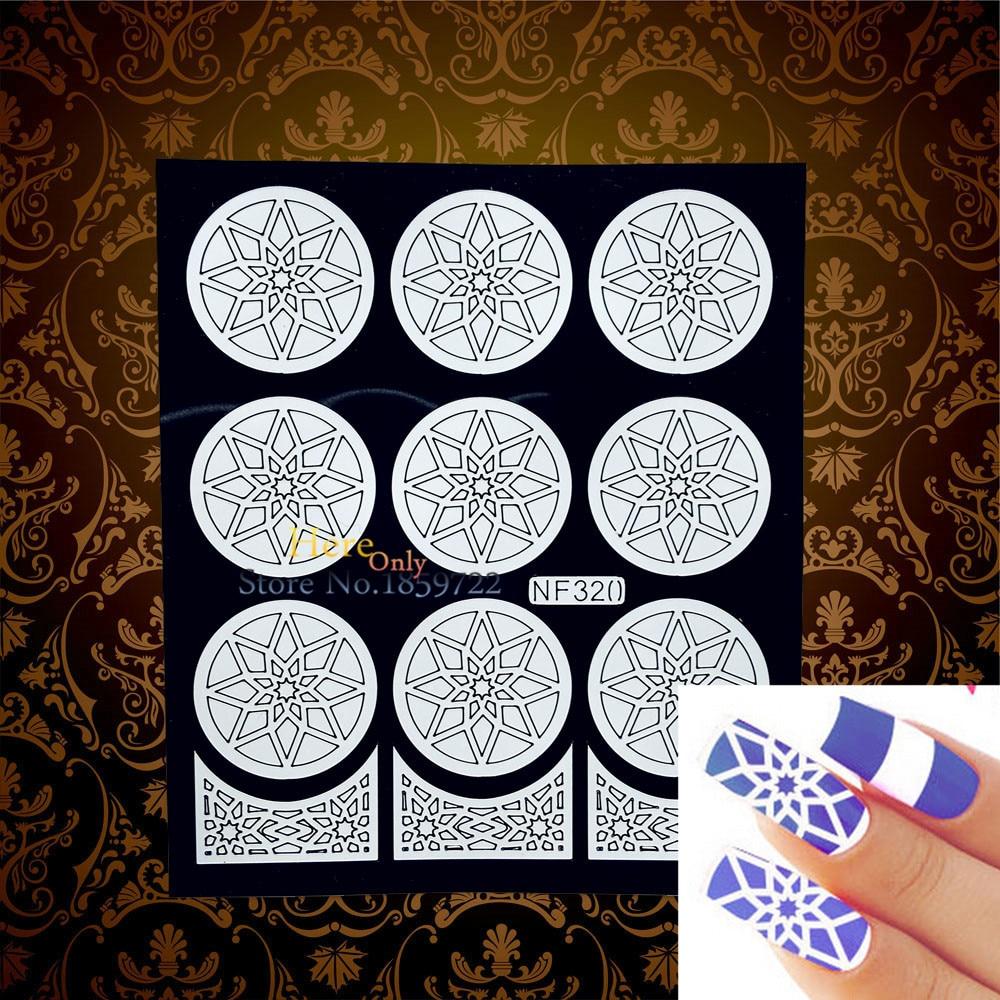 இCharm Henna Nail Art Sticker Stencil Template HWNF320 White Holo ...