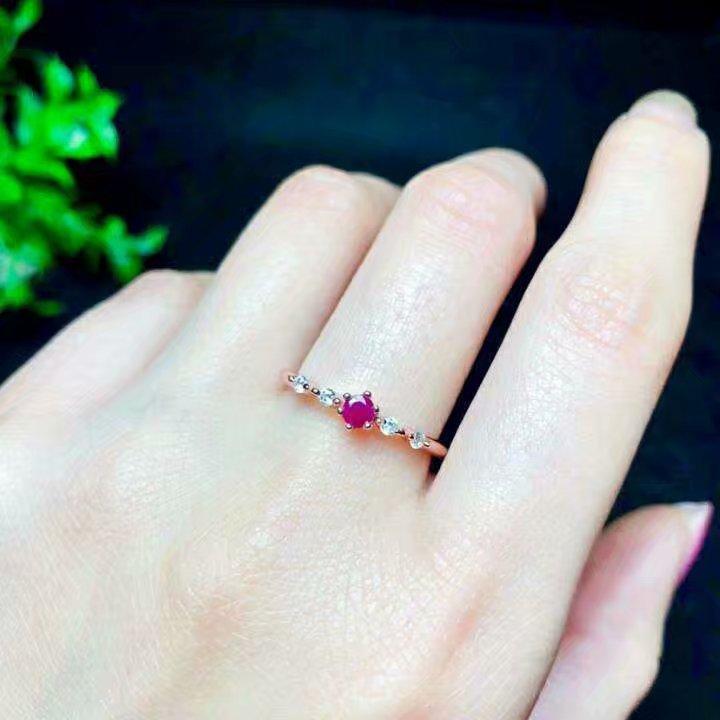 Shilovem 925 bague en argent sterling naturel rouge rubis bijoux fins femmes à la mode ethnique mariage ouvert 3*3mm qj030301agh