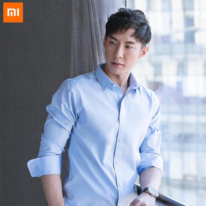 high quality Anti wrinkle Xiaomi 90 Fashion Men Shirt Non ironing Long Sleeve Soft Cotton Slim