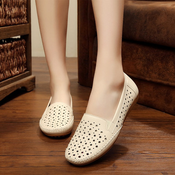 2019 summer breathable women loafers shoes soft bottom female flats comfortable soft PU leather casual women shoes 1