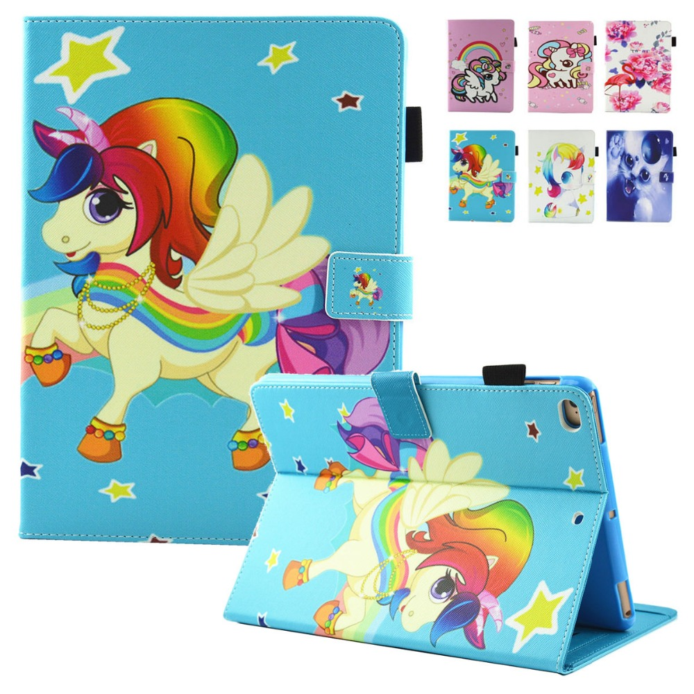 For Coque Capa iPad Air 2 Case Kid Gift Unicorn Cartoon Magnet Leather Kickstand Cases C ...