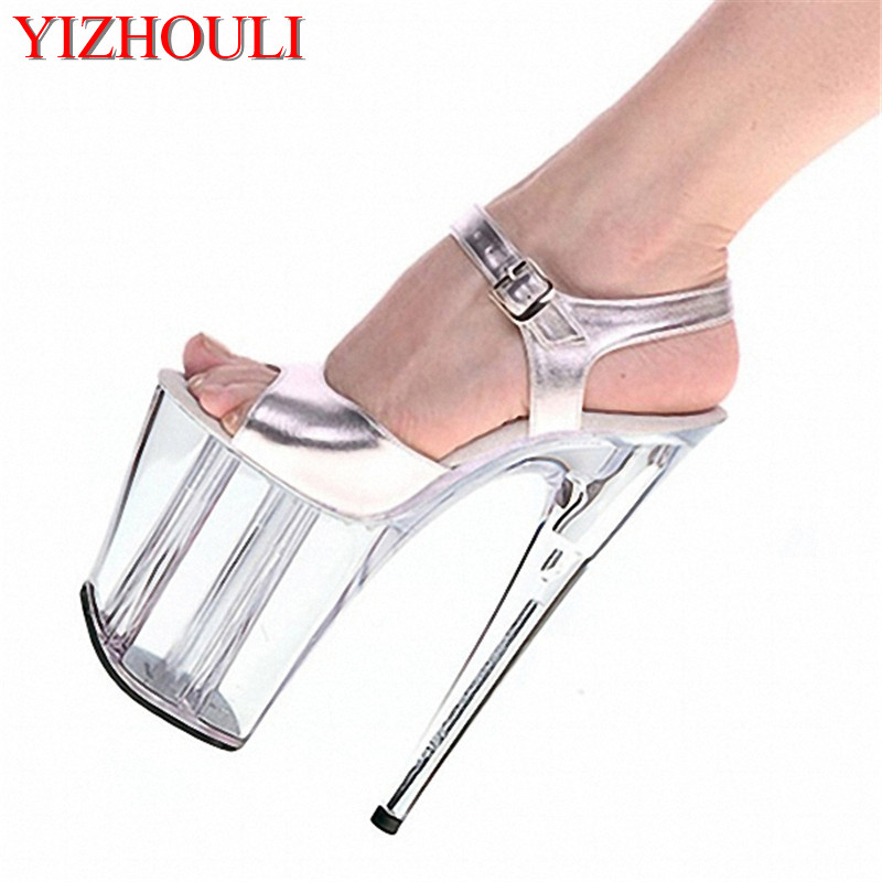 20 cm high heel transparent crystal sandals,8 inch wedding shoes, party exotic dancer performance shoes 1 5mm 2mm 3mm gold silver hot fix flatback half round nail art rivet punk rock style for 3d nail art decoration