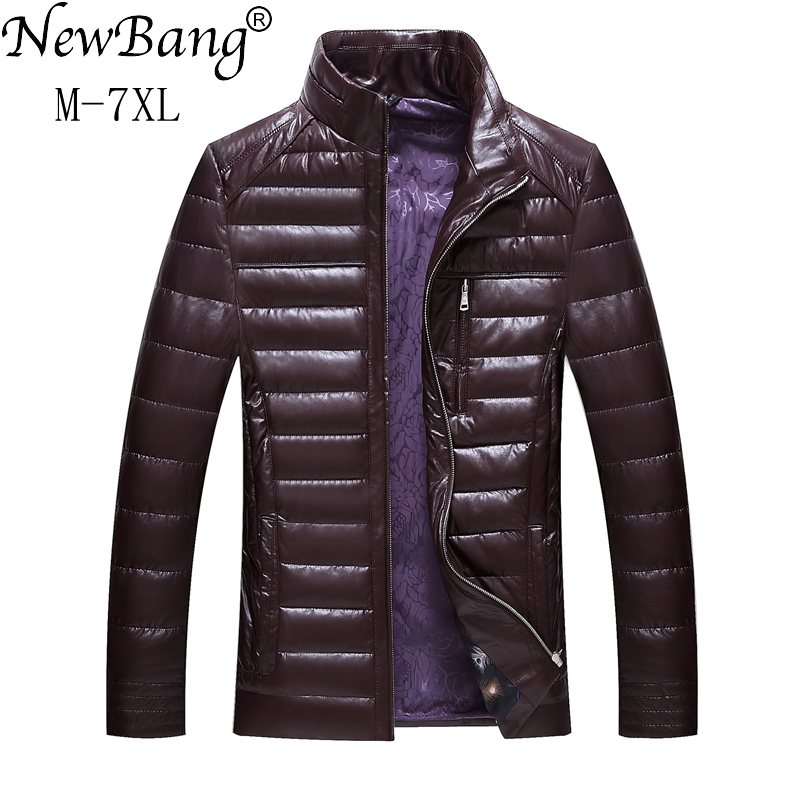 NewBang Brand 6XL 7XL PU Leather Winter Jacket Men Fashions   Down     Coat   Male   Down   Jacket Men's Winter Thick Warm Windbreaker
