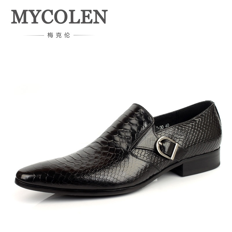 MYCOLEN New Classic Genuine Leather Mens Dress Shoes Business Formal Wedding Office Man Footwear Pointed Toe Slip On Loafers fashion men s lace up straight legs cropped jeans