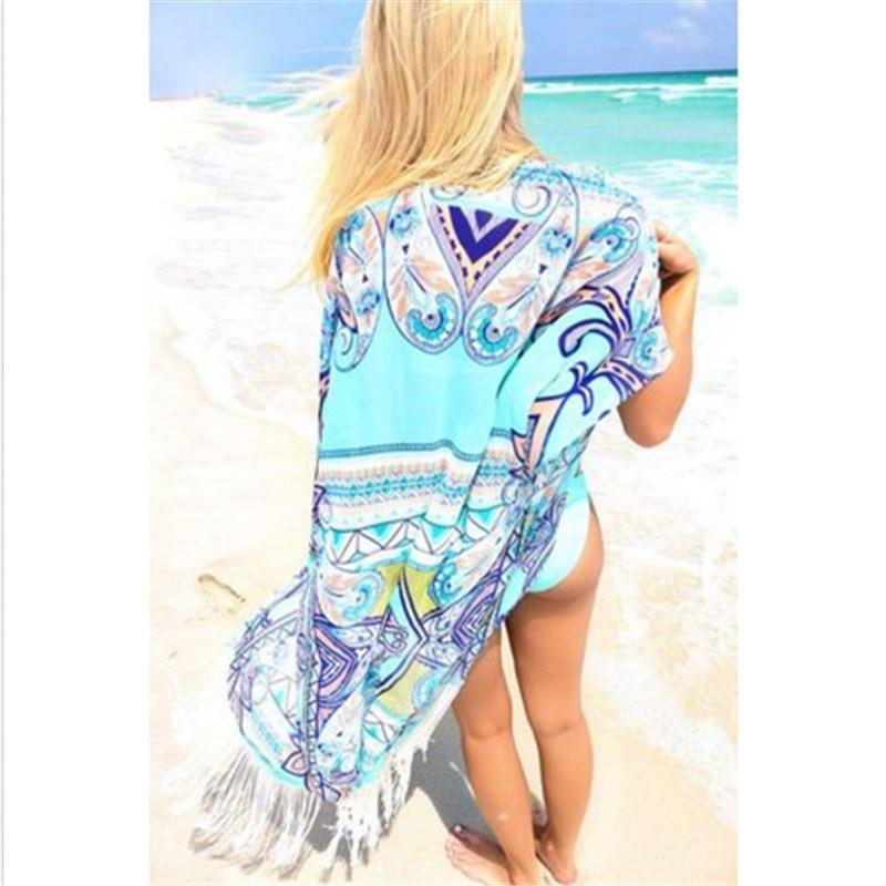 Half Sleeve Long Beach Wear Women Bikini Cover Up Dress 2018 Chiffon Tassels Swimsuit Beachwear