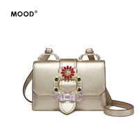 MOOD Personality Fashion Small Square Diamond Package Summer New Joker Aslant One Shoulder Bag Leather Material
