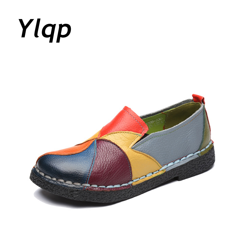 Ylqp Patchwork Women's Handmade Shoes Genuine Leather Flat Mother Shoes Woman Loafers Soft Casual Shoes Women Flats Moccasins summer women casual shoes breathable mother shoes women flat platform soft comfortable braided shoes light loafers for woman