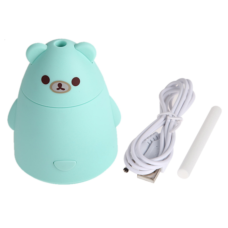 Newest Aroma Diffuser Aromatherapy Air Purifier LED USB Cartoon Bear Humidifier for Home Office Car SPA Green Free Shipping E#CH