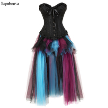 Sapubonva 섹시한 steampunk 치마 코르셋과 bustiers 탑 레이스 저녁 여성 플러스 사이즈 고딕 코르 셋 드레스 긴 할로윈을 밀어