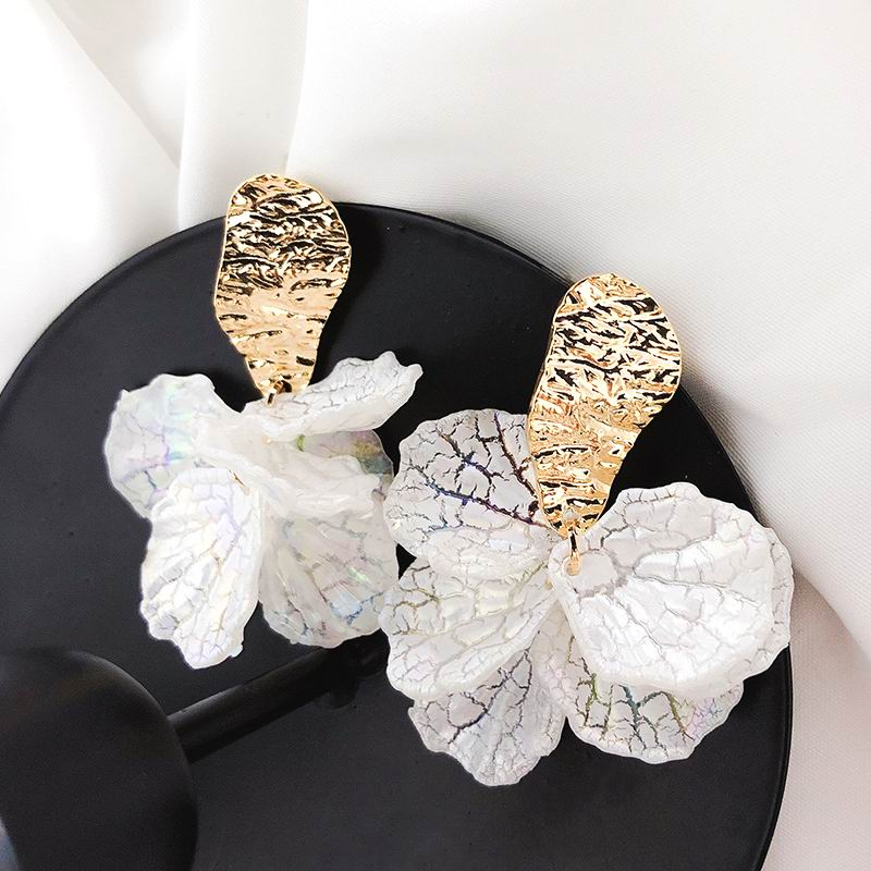 Drop-Earrings Jewelry Flower-Petal Shell Pendientes Statement Trendy Korean White Women
