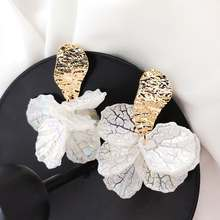 Корейские белые серьги капли с лепестками цветов в виде ракушек