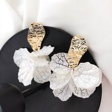 Coreano blanco Shell flor pétalo gota pendientes para mujeres 2019 nueva Declaración pendientes joyería de moda