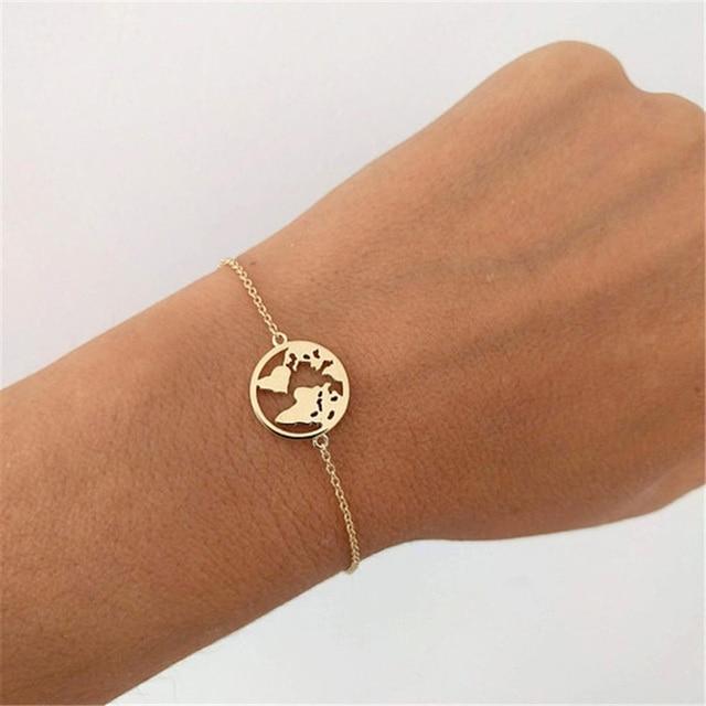 מפת עולם נירוסטה צמידים לנשים פשוט מתכוונן זהב כסף בציר תכשיטי כדור הארץ יום מתנות חג המולד
