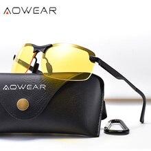 Aowear alumínio noite condução óculos anti brilho visão noturna motorista óculos de sol polarizado óculos de sol amarelo óculos de alta qualidade