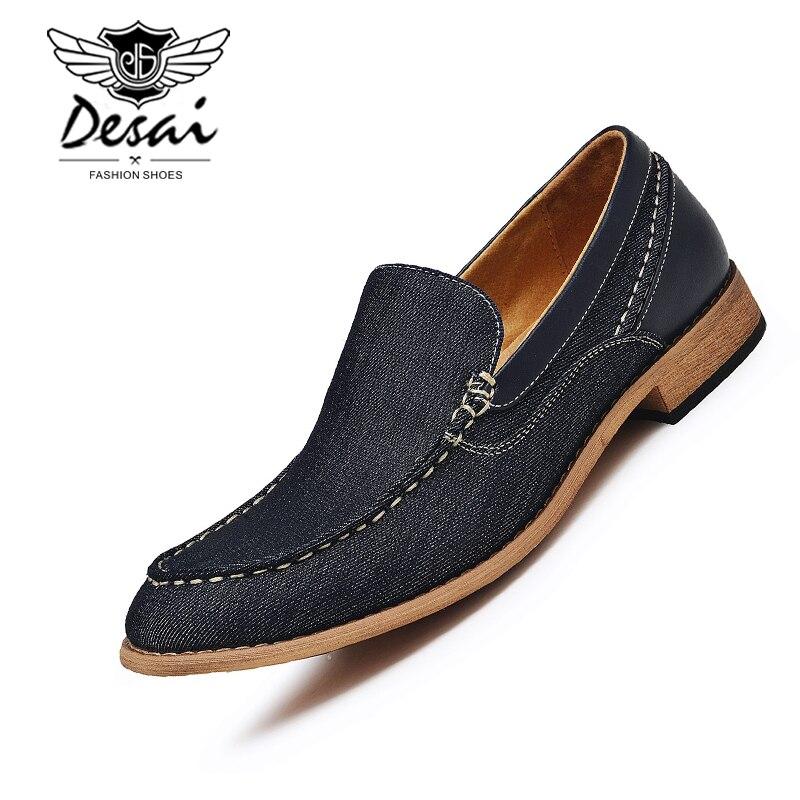 Homme Noyer Bas Mocassins Cousus à La Main Chaussures De Bureau De Haute Qualité Mode décontracté Denim Chaussures Hommes Destockage