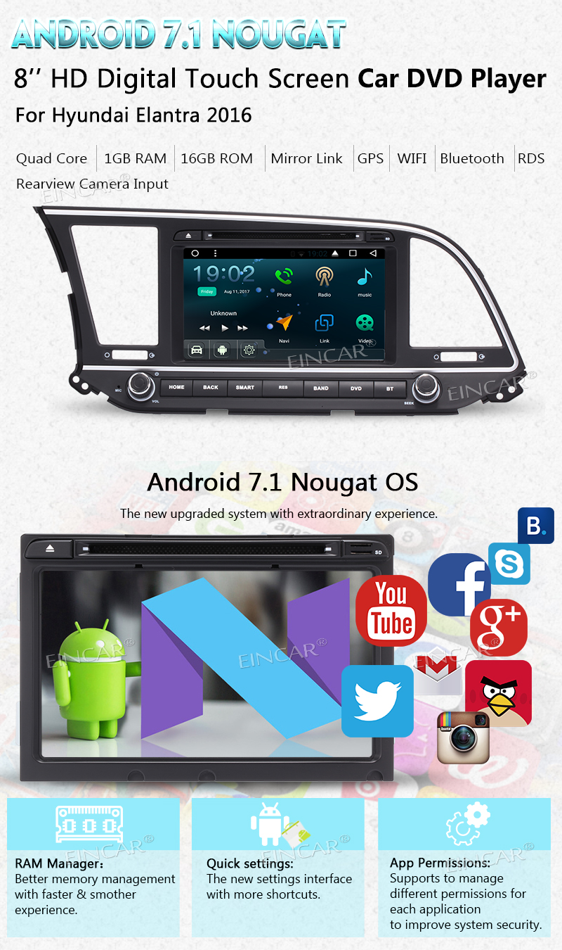 With Rear Camera 8″ For Hyundai Android7.1 Car dvd Head Unit GPS Navigation Bluetooth 1080P Video Music Radio Audio touch screen