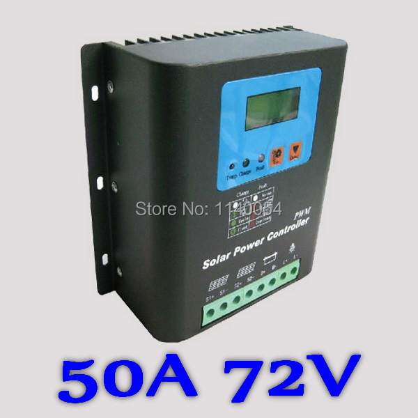 50A 72V Solar Charge Controller, Home Use 72V Battery Regulator 50A for 3600W PV Solar Panels Modules, LED&LCD Display 100w 12v monocrystalline solar panel for 12v battery rv boat car home solar power