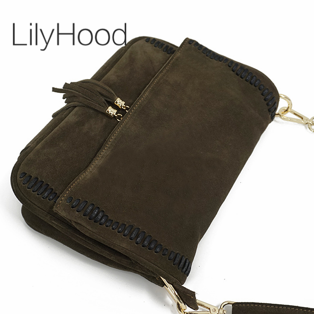 Suede Leather Messenger Bag With Tassel Pendant Female Genuine Leather Nubuck Casual Street Style Loop Details Big Crossbody Bag