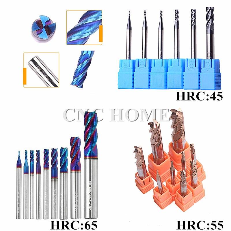 1pc 4//6mm Titanium Coated 2 Flute Carbide Flat Nose End Mills CNC Bits HRC70