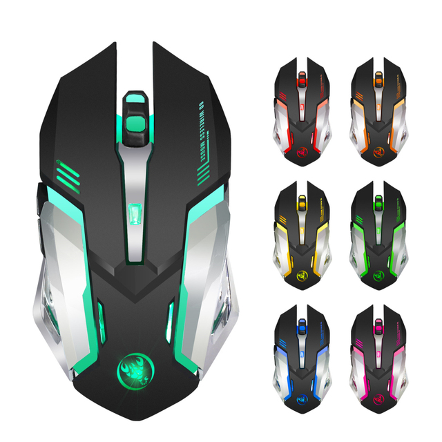 HXSJ M10 Wireless Gaming Mouse 2400dpi Rechargeable 7 Color 3