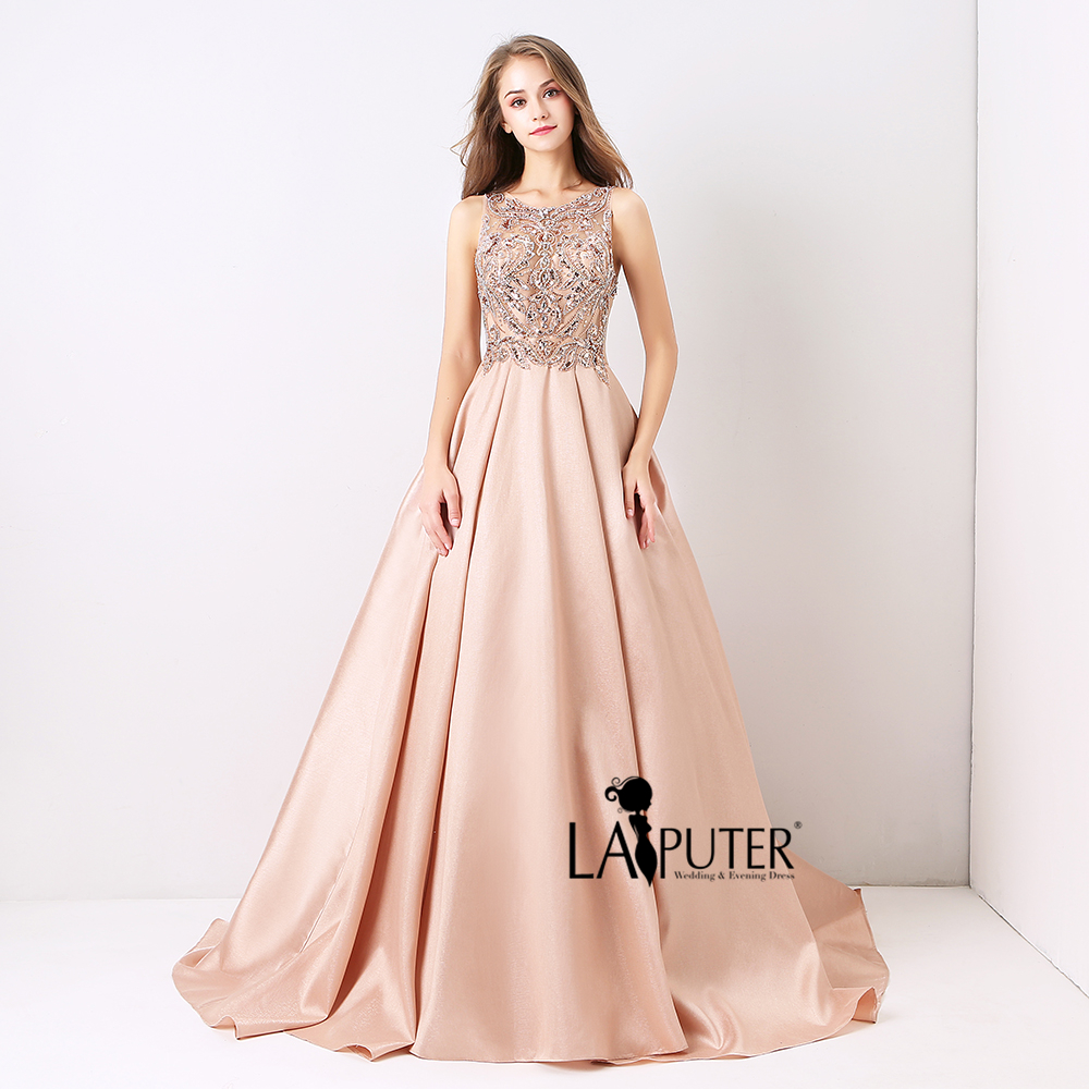 Laiputer Dusty Pink Sexy Formal Long Ball Gown Evening Prom Dress ...
