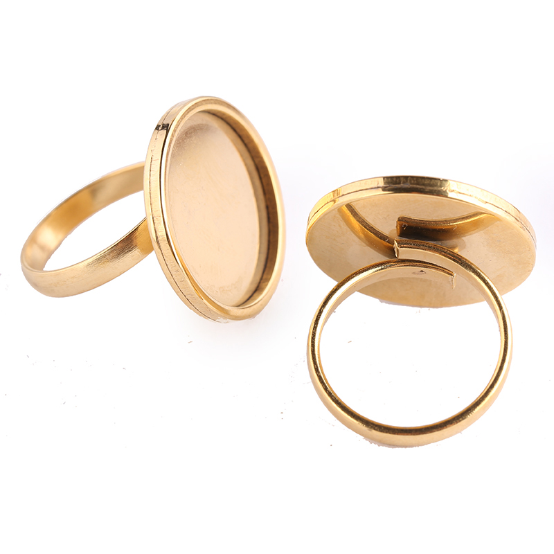 Onwear 10pcs Stainless Steel Gold Plated Adjustable Diy Jewelry Making Ring Base Settings 20mm Dia Cabochon Bezel Blanks