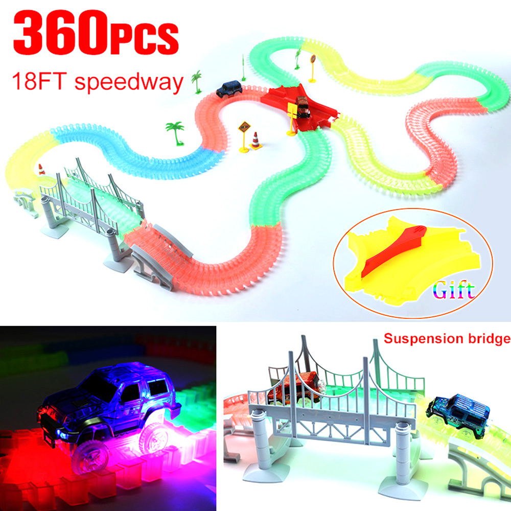165 220 240 360pcs set with LED Car Miraculous Glowing Race Track Bend Flex Flash in