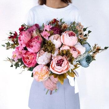 13 филиал/букет искусственных цветов пион яркий Флорес artificiales поддельные шелковые розы свадебные Декор венок железы дома