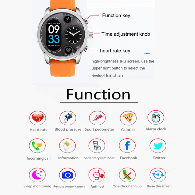 T3 Dual Display Smart Watch For Men – IP68 Waterproof Travel Smartwatch