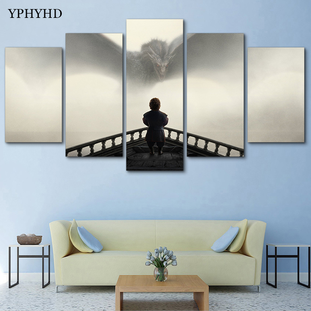 YPHYHD Modern Living Room Home Decor 5 Piece Game Of Thrones Pictures Wall Art Dragons Poster Canvas Painting HD Printed Frame