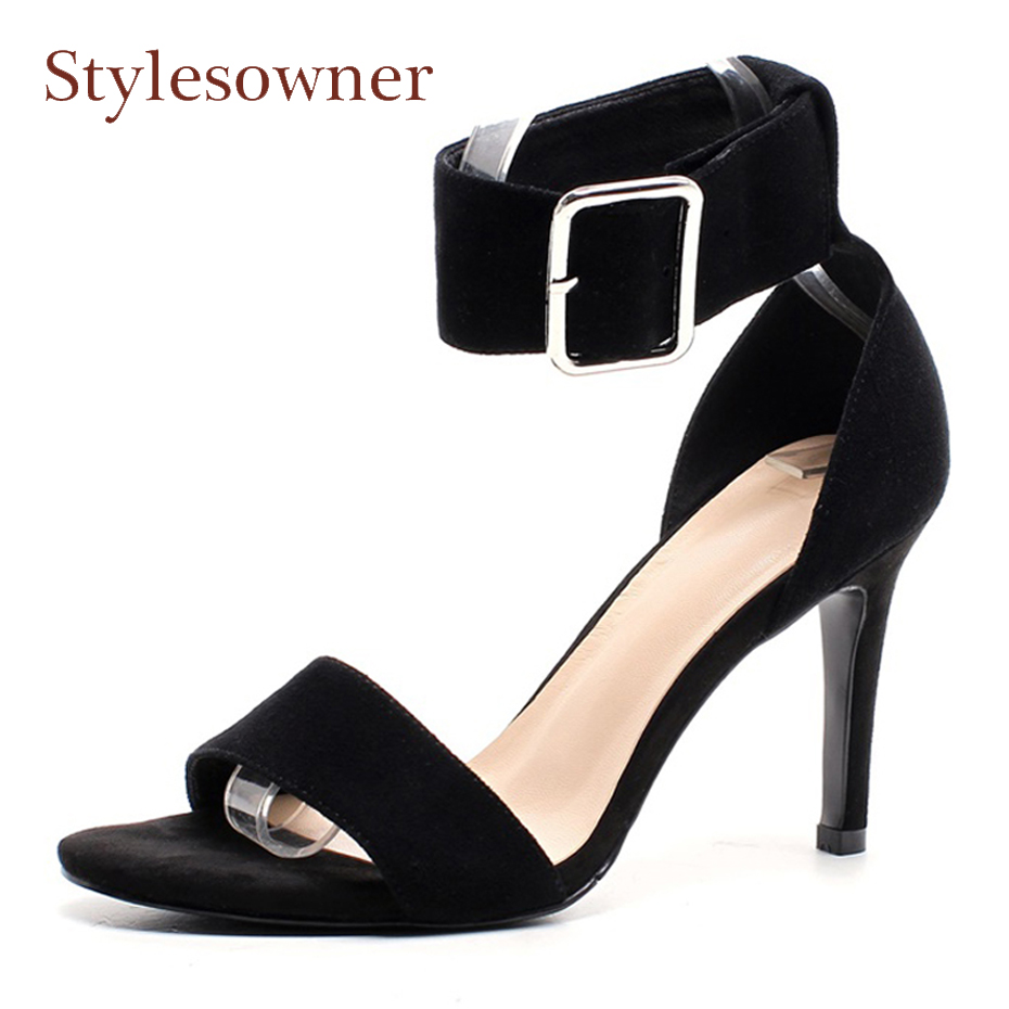 Stylesowner sexy lady black stiletto heel sandals buckle strap open toe 9cm heel women dress party shoes suede gladiator sandals weber гриль угольный compact kettle 47см 1221004 weber
