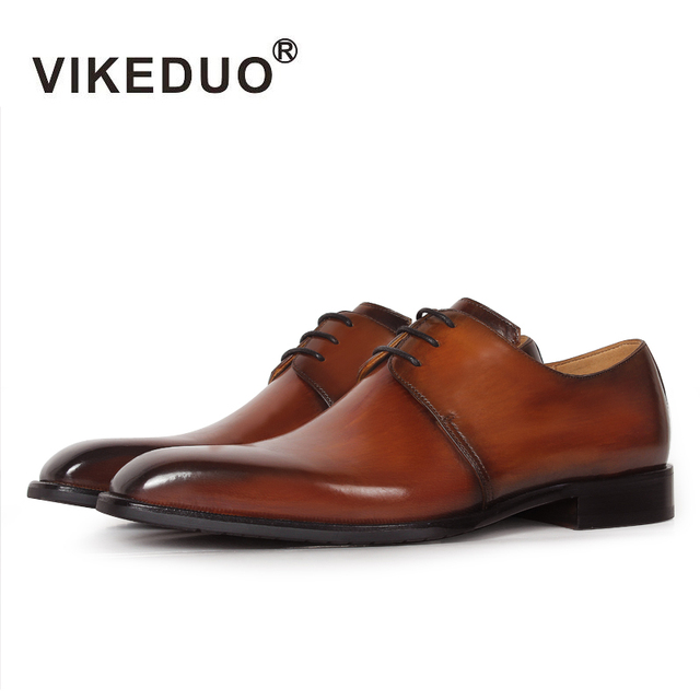 2019 Vikeduo Luxury Casual Newest Fashion Handmade Patina Genuine Leather Office Party Wedding Dress Shoe Brown Men Derby Shoes