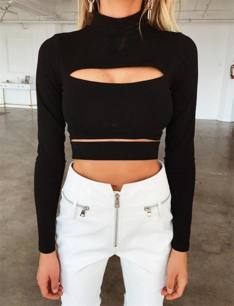 Solid Black Ladies Long Sleeve Crop