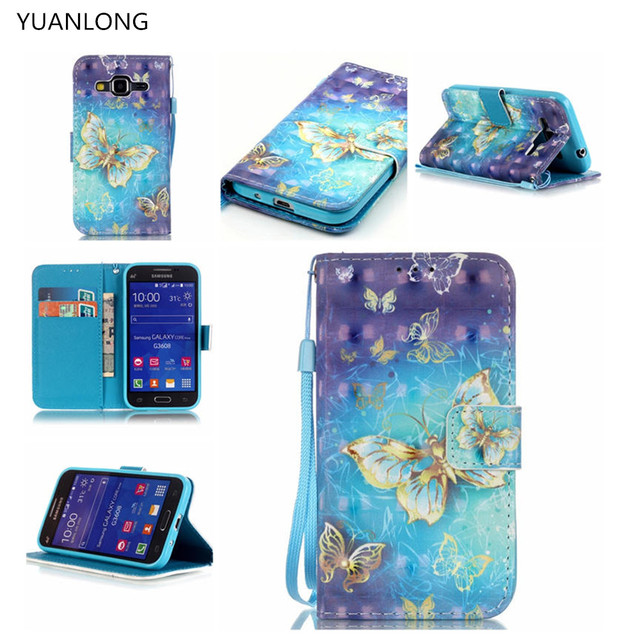 YUANLONG 3D  Painted Case For Samsung Galaxy Core Prime LTE G360 G3608 PU Leather Wallet Flip Case Cover With Card Slot