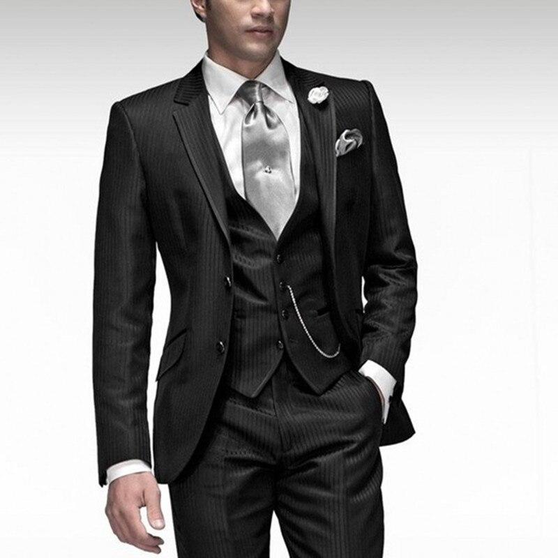Rayé hommes noir revers veste trois pièces Gentleman costume costume hommes de rencontre ensemble de mariage de luxe mariage robe de marié