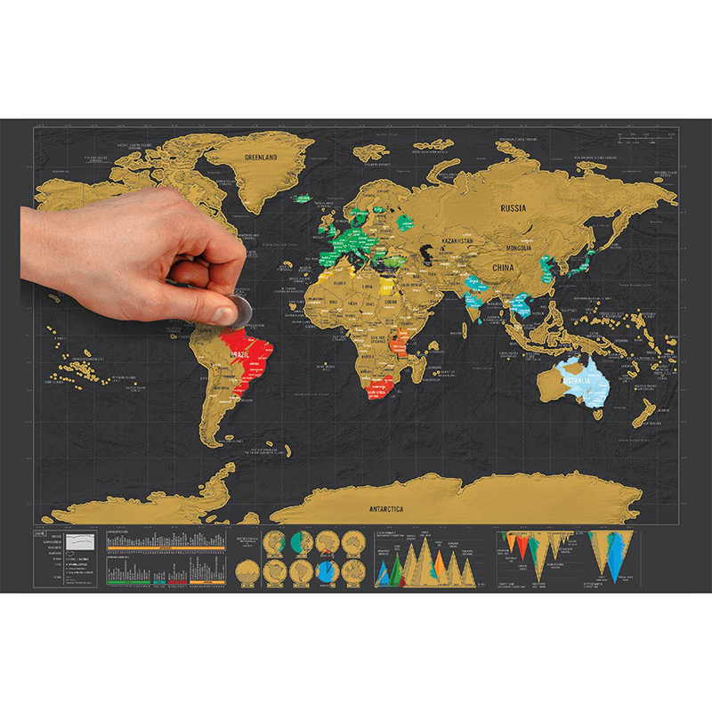 Travel Scratchable World Map Added Bonus Traveller Adventure maps Easy to Scratch Best Personalised Gift