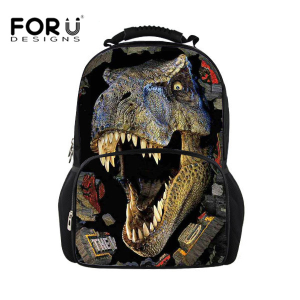 New 2018 Fancy 3D Animal Dinosaur Printing Men Backpack for Teenage Boys School Students Casual Laptop Backpacks Man FORUDESIGNS forudesigns 3d printing backpacks for teenager boys girls anime pokemon naruto men felt backpack casual school bagpack mochilas