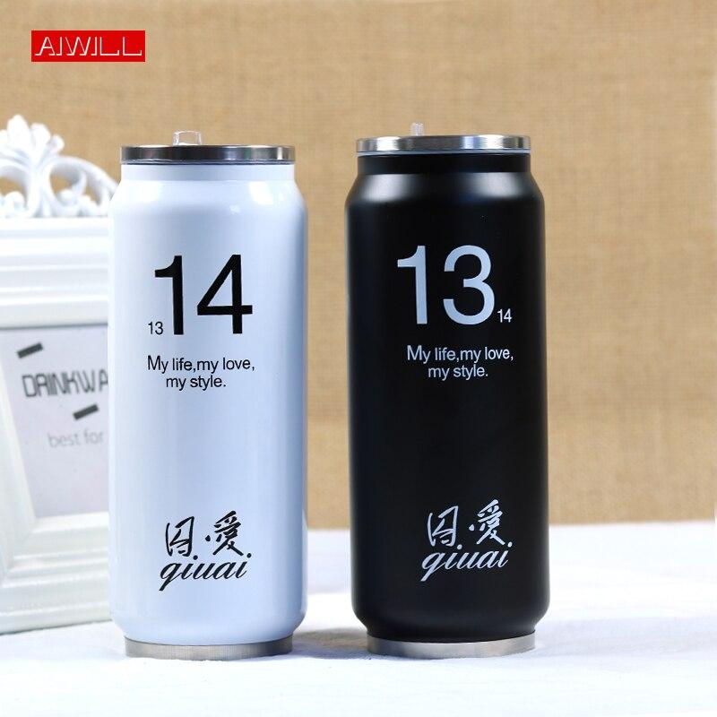 AIWILL Caliente Linda Lata de Bebida Paja Botella de Agua de Aislamiento de Acero Inoxidable Termo Termo Garrafa Termica Termos Bardak 280/450 ML