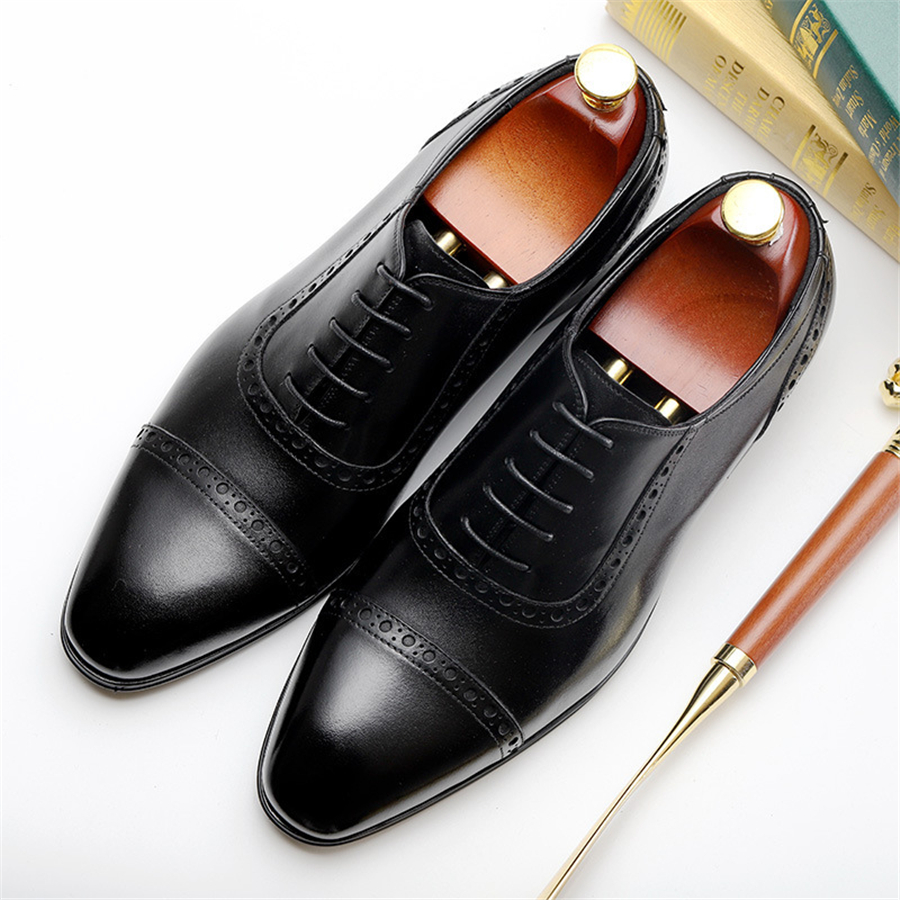 Свадебные туфли Броги из 100% натуральной коровьей кожи; мужская повседневная обувь на плоской подошве; винтажные оксфорды ручной работы для ... - 3