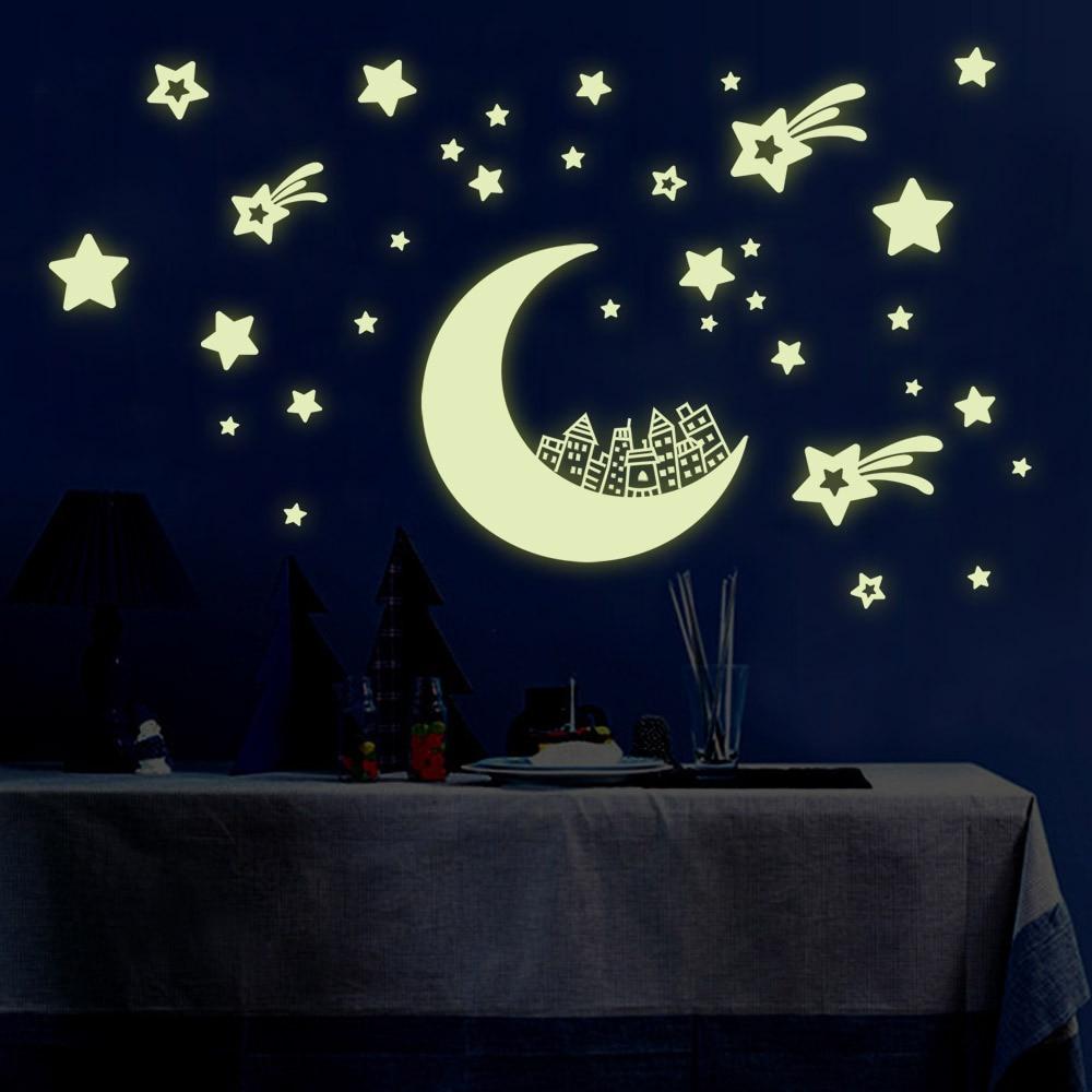 Ночник световой Наклейки на стену DIY Книги по искусству Домашний Декор Наклейки для детей Детская комната наклейки на стены звезды и луна Од...
