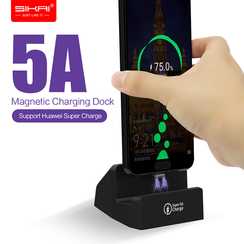 Magnetic Mobile Phone Chargers for Honor 10 <font><b>Huawei</b></font> P <font><b>supercharge</b></font> SIKAI 5A Wireless fast Charging Dock Station stand USB C Cables image