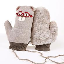 Зимние митенки детские из плотного флиса детские вязаные перчатки мультфильм обувь для мальчиков девочек Теплые веревки варежки Дети теплые прихватки