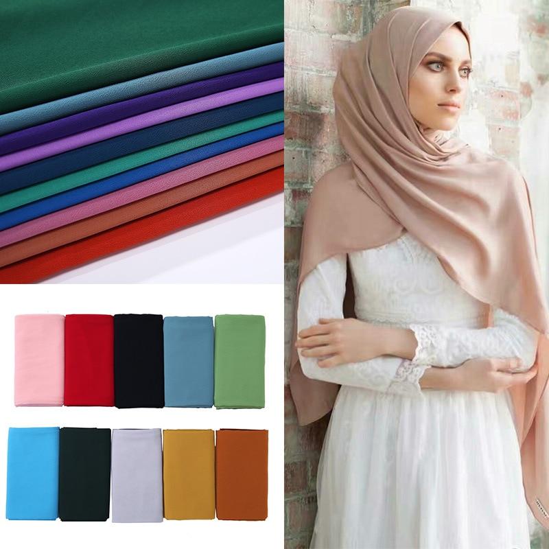 2019 New Elegant Modest Women Bubble Chiffon Solid Oversizes Muslim Head Scarf Ladies Shawl And Wrap Female Foulard Hijab Stoles