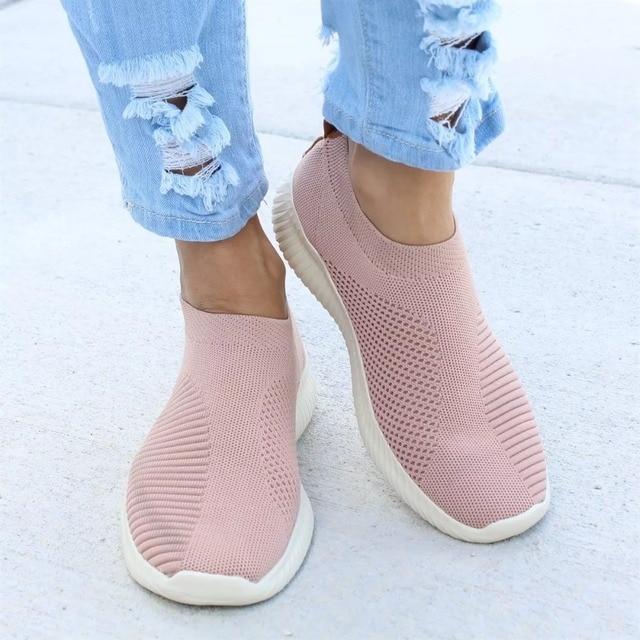 נשים נעליים בתוספת גודל 43 נשים לגפר נעלי אופנה להחליק על נעלי גרב נשי רשת לבן סניקרס שטוח מזדמן Tenis feminino